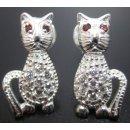 Kissa - Hopeiset korvakorut