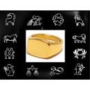 Horoskooppi - Teräksinen kantasormus, kullattu