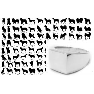 Koirasiluetti Tapio - Hopeinen kantasormus