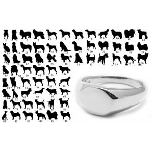 Koirasiluetti Vellamo - Hopeinen kantasormus